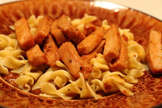 Apple Cider Pork with Noodles